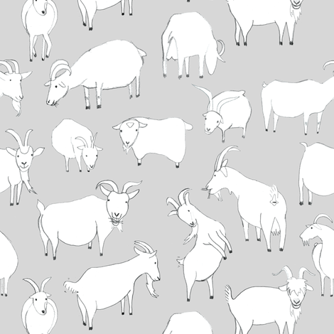 Grey Goats Playing fabric by crumpetsandcrabsticks on Spoonflower - custom fabric
