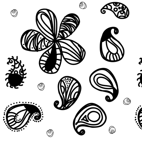Black and White Paisley Teardrops  fabric by bohobear on Spoonflower - custom fabric