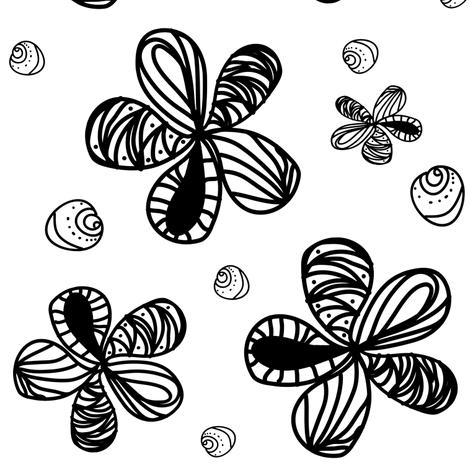 Black and White Flower   fabric by bohobear on Spoonflower - custom fabric
