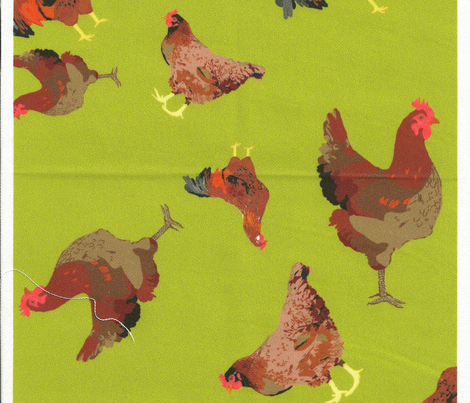 Rhode Island Red Roosters Ditsy on Green