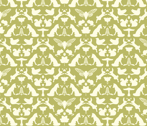woodland damask olive large scale fabric by doodleandhoob on Spoonflower - custom fabric