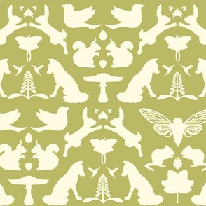 woodland damask olive large scale