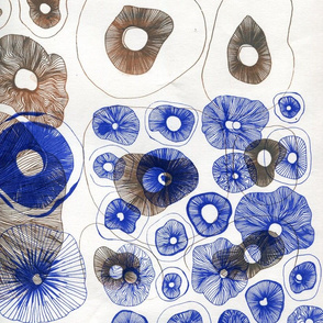blue and brown mushrooms