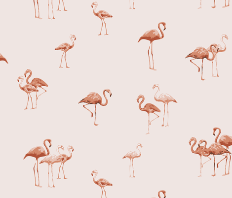 peachy flamingos fabric by owls on Spoonflower - custom fabric