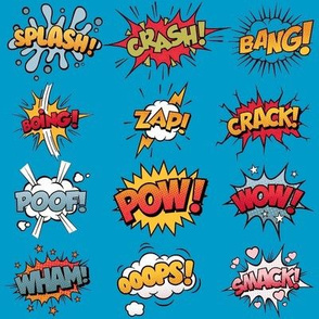 Comic Book Rumble Poof, Wham, Splash, Boing, Pow, Zap, Crash, Ooops, Smack, Bang, Crack, Wow in BLUE