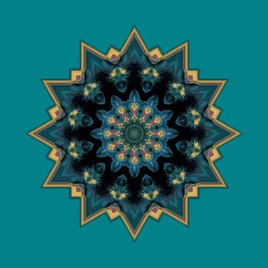 Kaleidescope 3360 trimmed solar repeat yellow turquoise mandala aqua