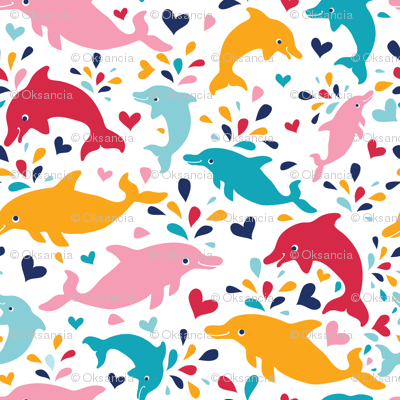 Colorful dolphins pattern