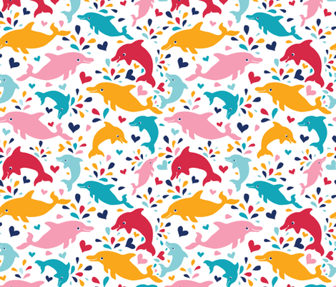 Colorful dolphins pattern fabric by oksancia on Spoonflower - custom fabric
