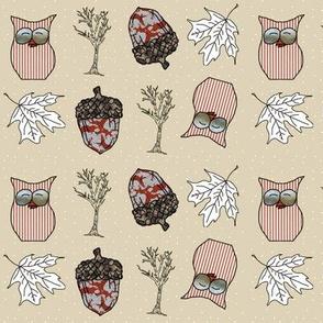 Fall Things: Owls Acorns Leaves