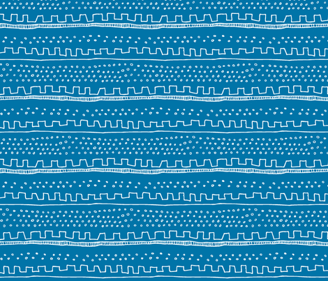 Horizontal Blue Stripe fabric by katebutler on Spoonflower - custom fabric