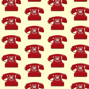 Medium Call me! Red phone on cream