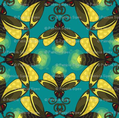 Fireflies in a Blue Green Sky