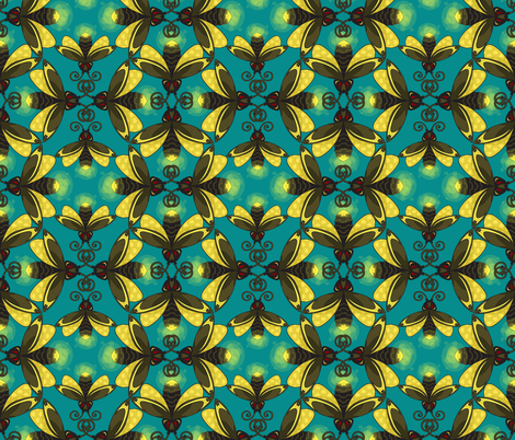 Fireflies in a Blue Green Sky fabric by labrattish on Spoonflower - custom fabric