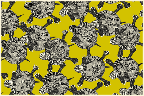 turtle party citron tea towel fabric by scrummy on Spoonflower - custom fabric