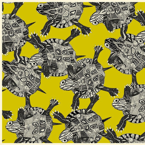 turtle party citron tea towel