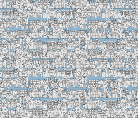 castle avenue day blue fabric by scrummy on Spoonflower - custom fabric