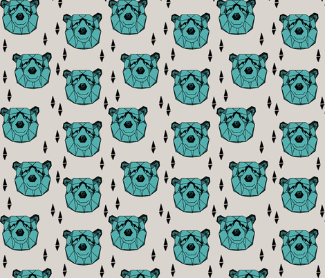 bear head // geometric bear head grey and blue fabric turquoise nursery baby design bears woodland outdoors fabric fabric by andrea_lauren on Spoonflower - custom fabric