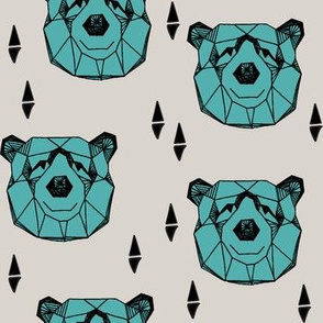 bear head // geometric bear head grey and blue fabric turquoise nursery baby design bears woodland outdoors fabric