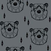 Geometric Bear Head - Charcoal/Black