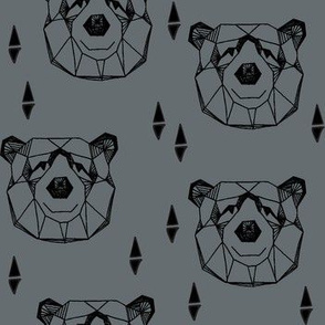 bear head // geometric bear head charcoal grey bears design andrea lauren fabric nursery design nursery fabric
