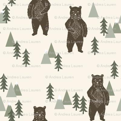 forest bear // brown cream green outdoors boys kids