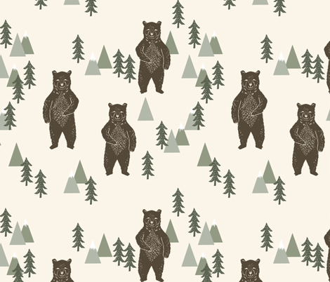 forest bear // brown cream green outdoors boys kids  fabric by andrea_lauren on Spoonflower - custom fabric