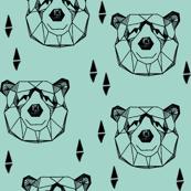geo bear head // geometric bear mint kids blue boy nursery geometric