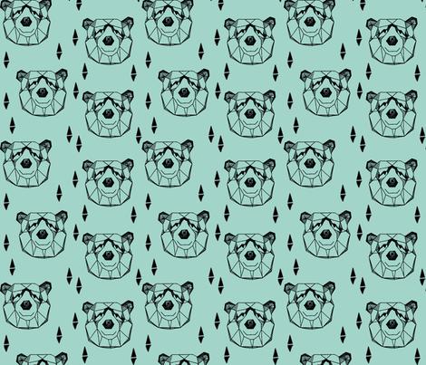 geo bear head // geometric bear mint kids blue boy nursery geometric  fabric by andrea_lauren on Spoonflower - custom fabric