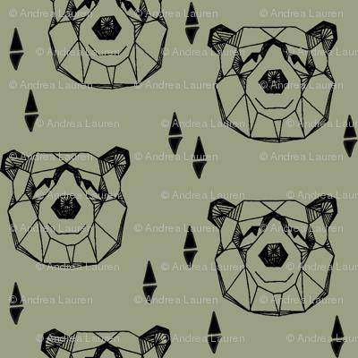 Geometric Bear Head //artichoke green boys kids nursery baby
