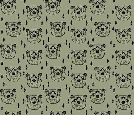 Geometric Bear Head //artichoke green boys kids nursery baby  fabric by andrea_lauren on Spoonflower - custom fabric