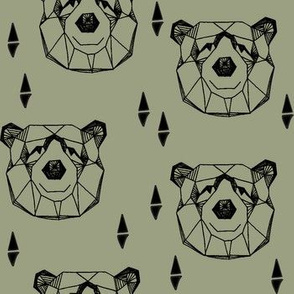 Geometric Bear Head //artichoke green boys kids nursery baby