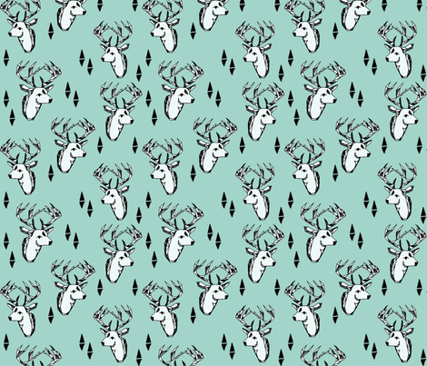 geo deer head // pale turquoise design andrea lauren geometric fabric deer design  fabric by andrea_lauren on Spoonflower - custom fabric
