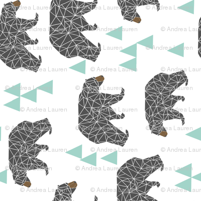 bear // mint and grey charcoal triangles kids cute baby nursery bear