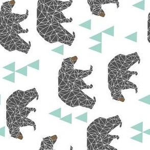 bear // mint and grey charcoal triangles kids cute baby nursery bear