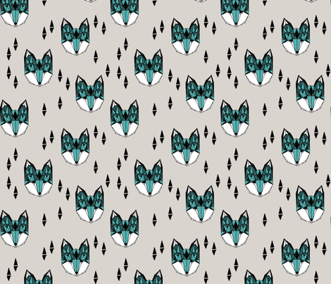fox // geometric fox head design grey and blue kids baby boy nursery foxy fox head fox quilt sewing fabric fox fabric  fabric by andrea_lauren on Spoonflower - custom fabric