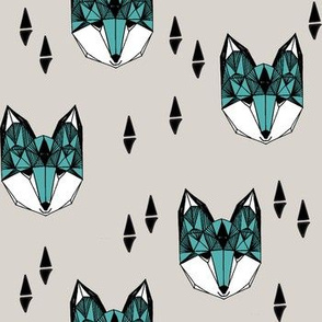 fox // geometric fox head design grey and blue kids baby boy nursery foxy fox head fox quilt sewing fabric fox fabric