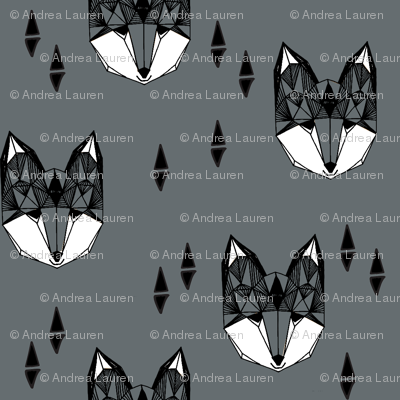 fox head // charcoal grey fox geometric animal cute kids gender neutral boys design