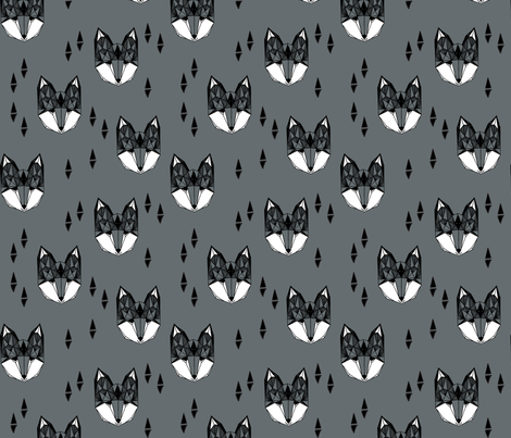 fox head // charcoal grey fox geometric animal cute kids gender neutral boys design fabric by andrea_lauren on Spoonflower - custom fabric