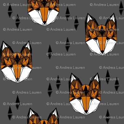fox head // geometric fox head hand-drawn geo illustration original andrea lauren design charcoal