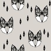 fox // geometric fox head woodland animals grey nursery baby baby boy kids design