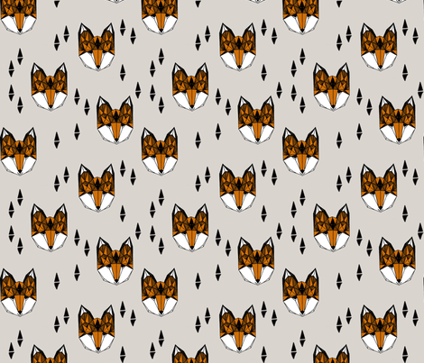 fox // geometric fox head kids baby nursery trendy kids grey baby boy gender neutral fox design for kids fabric by andrea_lauren on Spoonflower - custom fabric