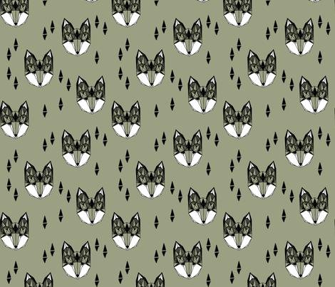 fox // geometric fox head kids nursery baby boys kids clothes boys trendy fabric for baby boy nursery  fabric by andrea_lauren on Spoonflower - custom fabric