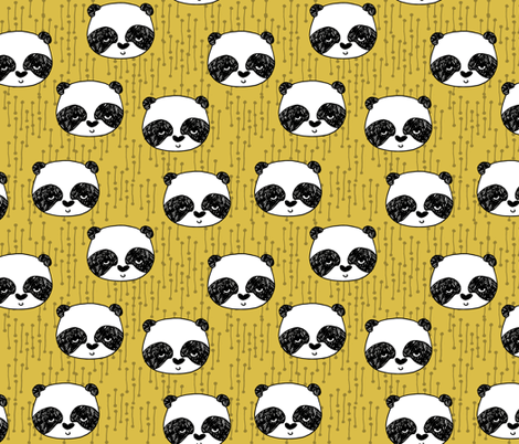 panda // mustard yellow panda head cute illustration andrea lauren fabric scandi nursery baby panda head fabric by andrea_lauren on Spoonflower - custom fabric