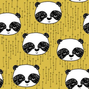 panda // mustard yellow panda head cute illustration andrea lauren fabric scandi nursery baby panda head