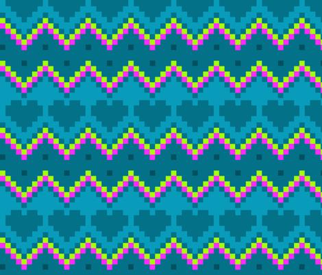 8-Bit Eighties - Chevrons and Hearts fabric by run_quiltgirl_run on Spoonflower - custom fabric