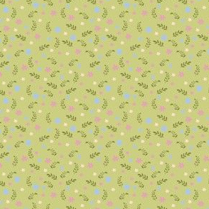Ditsy floral green