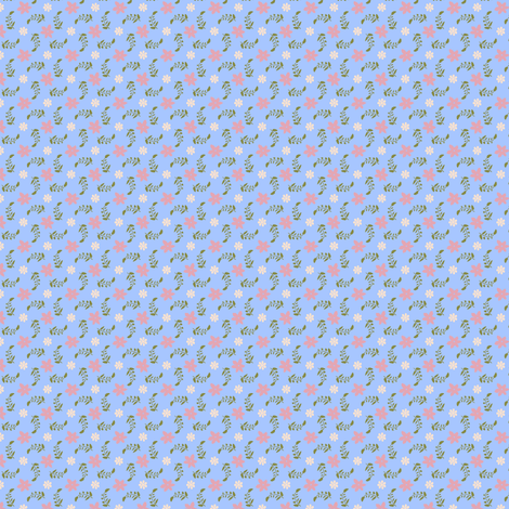Formal floral blue ground fabric by raccoons_rags on Spoonflower - custom fabric