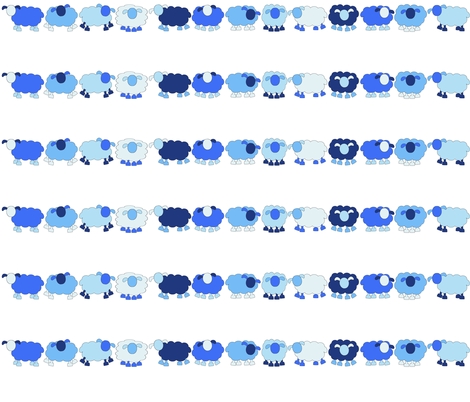 blue sheep in a long line fabric by amyknits on Spoonflower - custom fabric