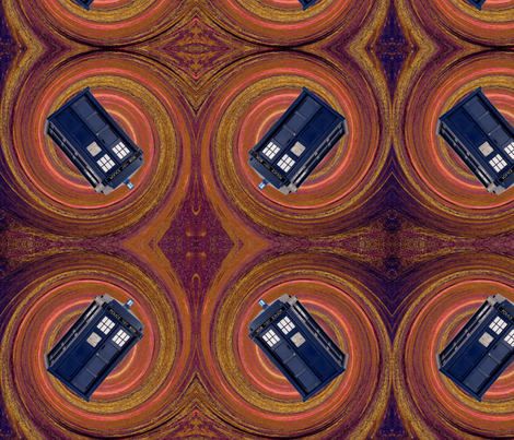 Police Box Orange Spiral fabric by projectbunnyart on Spoonflower - custom fabric