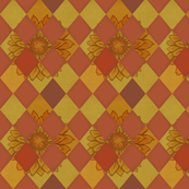 Harlequin Check Fabric Sunflowers